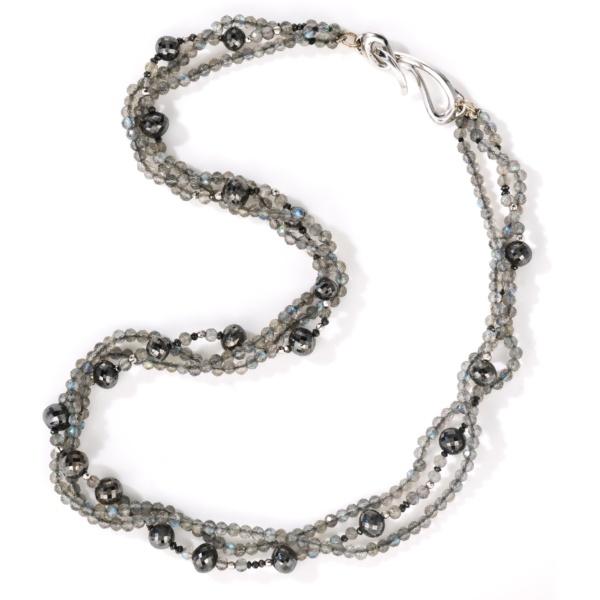 Midnight Sky Necklace - Black Diamonds & Labrodorite-18K Gold - by Naomi Sarna