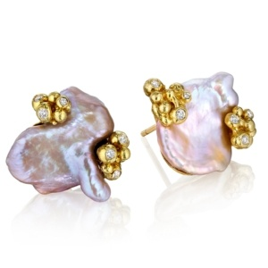 Pastel Pearl Bubble Earrings- Diamonds-18k Gold-Naomi Sarna