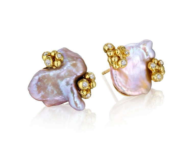 Pastel Pearl Bubble Earrings- Diamonds-18k Gold-Naomi Sarna