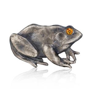 Frog Belt Buckle-Blackened Sterling Silver-Citrine-Naomi Sarna