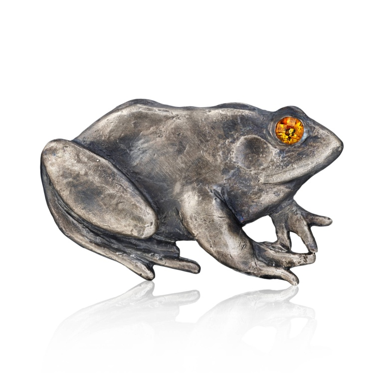 Frog Belt Buckle-Blackened Sterling Silver-Citrine-Naomi Sarna