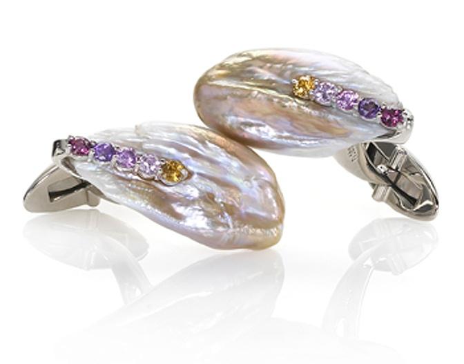 Heron Pearl Platinum Sapphire Cufflinks