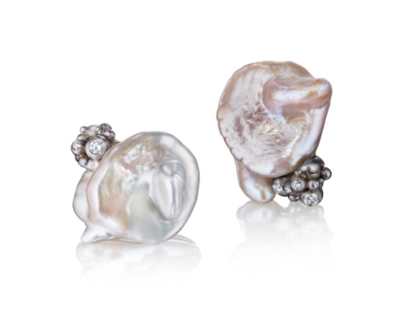 White Pearl Bubble Earrings-18k White Gold & Diamonds-Naomi Sarna
