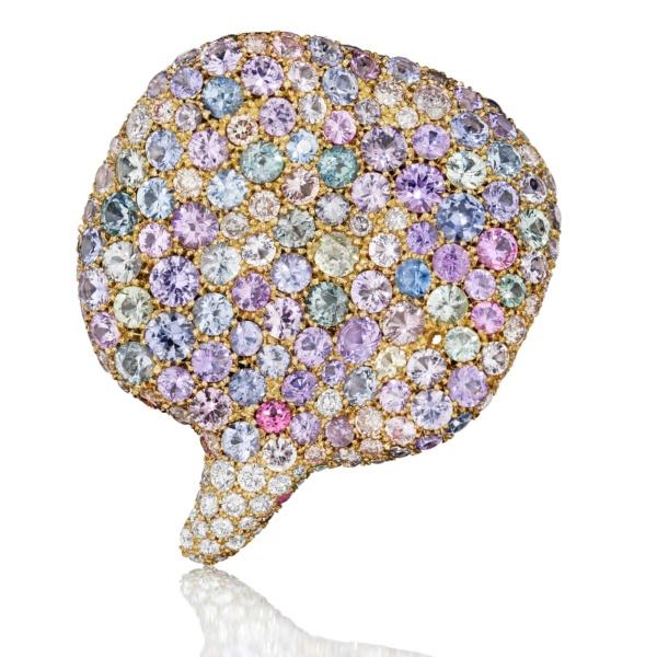 Spring Petal Pendant-Diamonds-Sapphires-18K Gold-Naomi Sarna