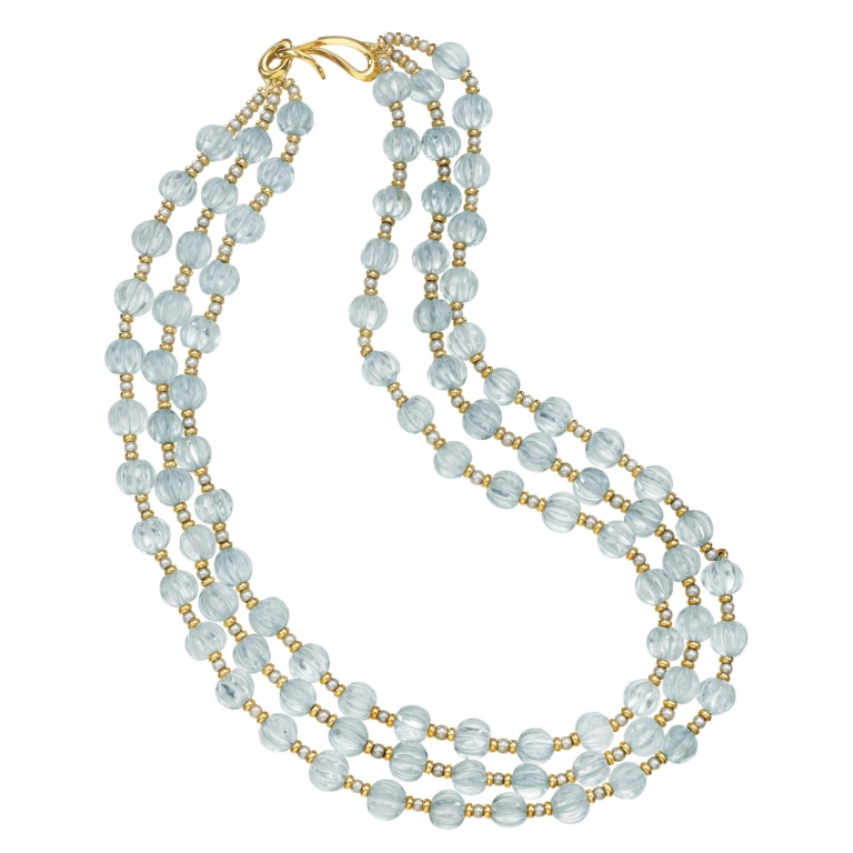 Blue Melody Necklace Blue Topaz 18K Yellow Gold and Pearls Naomi Sarna