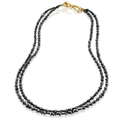 Small Double Strand Black Diamond Necklace