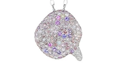 Petal Pendant 191 multicolored diamonds and sapphires, in 18K white gold. 1.2 in x 1.2 in.
