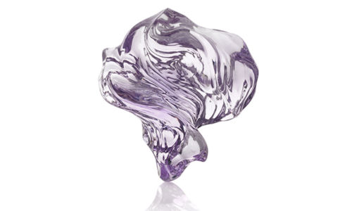 Rose de France amethyst carving set on a silver base. 83 x 78 x 46 mm 203.2 grams/1015 cts