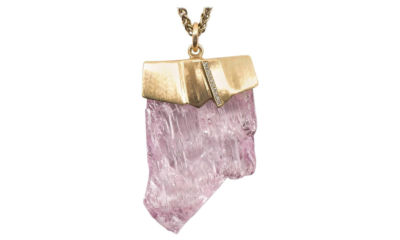 Kunzite Diamond Gold Pendant