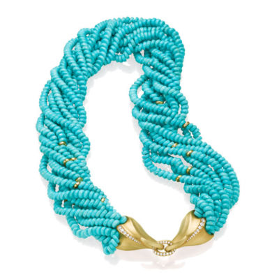 Multi-strand Turquoise Necklace with Yellow gold and white diamond clasp.