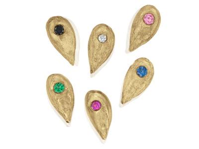 Gold Apple Seed Earrings