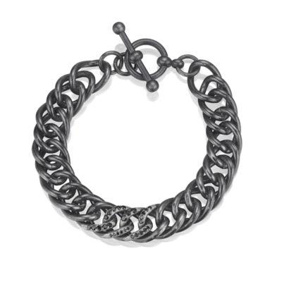 Black Diamond Sterling Silver Link Bracelet