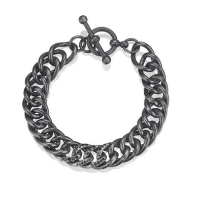 Black Diamond Sterling Silver Link Bracelet