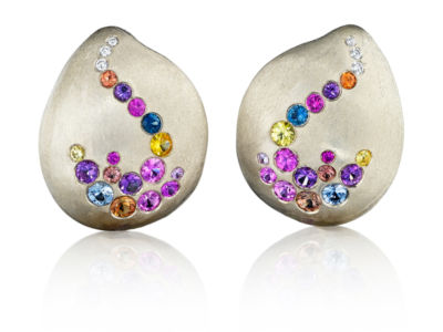 Petal Diamond Sapphire Gold Earrings