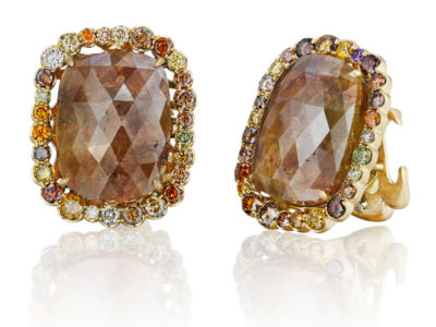 Natural Golden Brown Diamond Earrings