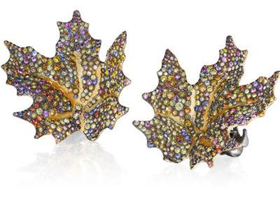 Maple Leaf Multicolored Diamond Earrings