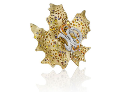 Maple Leaf Multicolored Diamond Earrings
